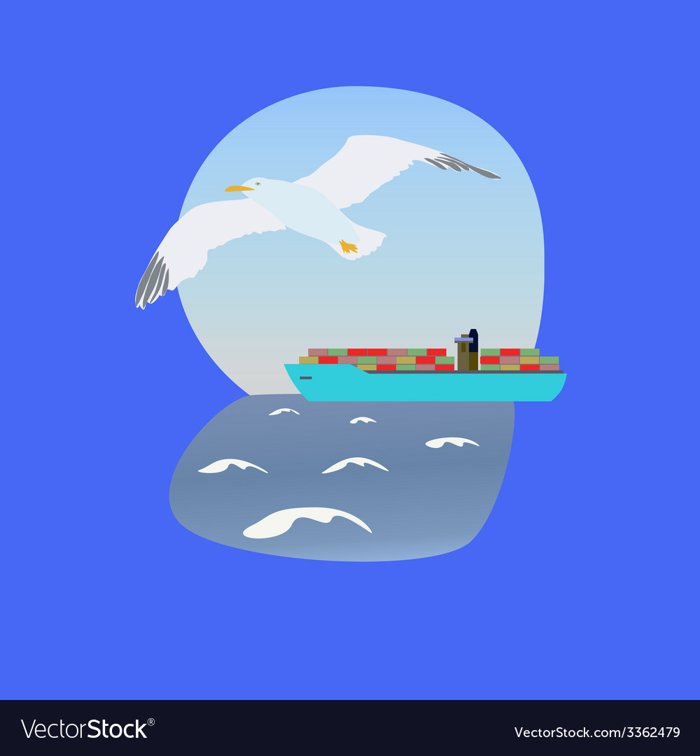 Container ship vector | Price: 1 Credit (USD $1)
