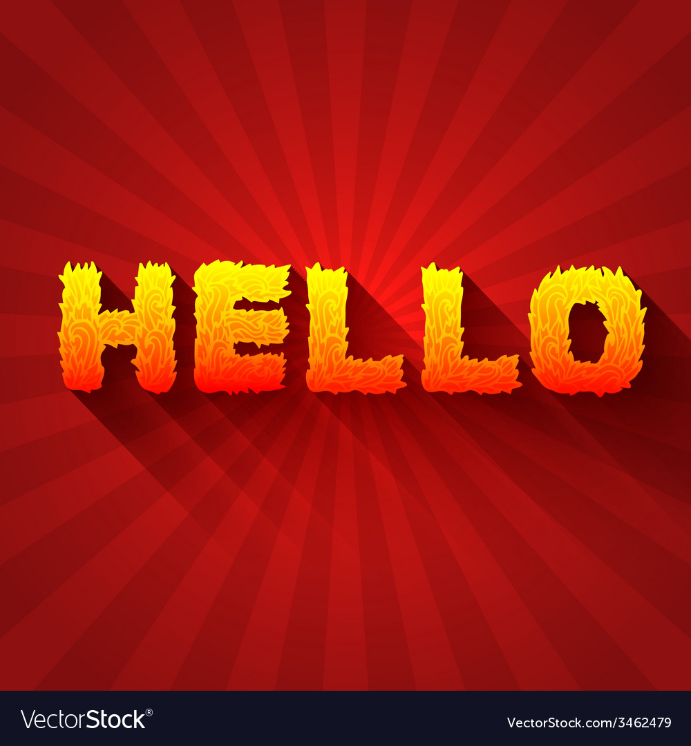Fire hello text on a red background concept design vector | Price: 1 Credit (USD $1)