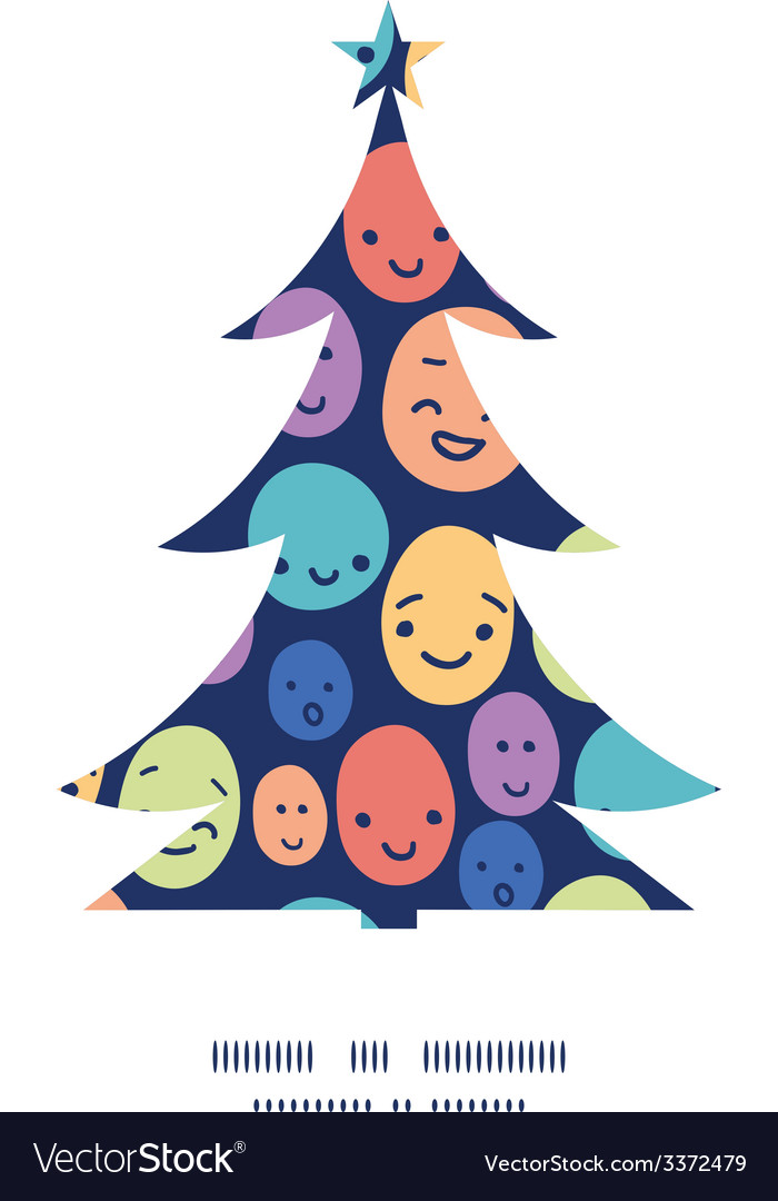 Funny faces christmas tree silhouette pattern vector | Price: 1 Credit (USD $1)