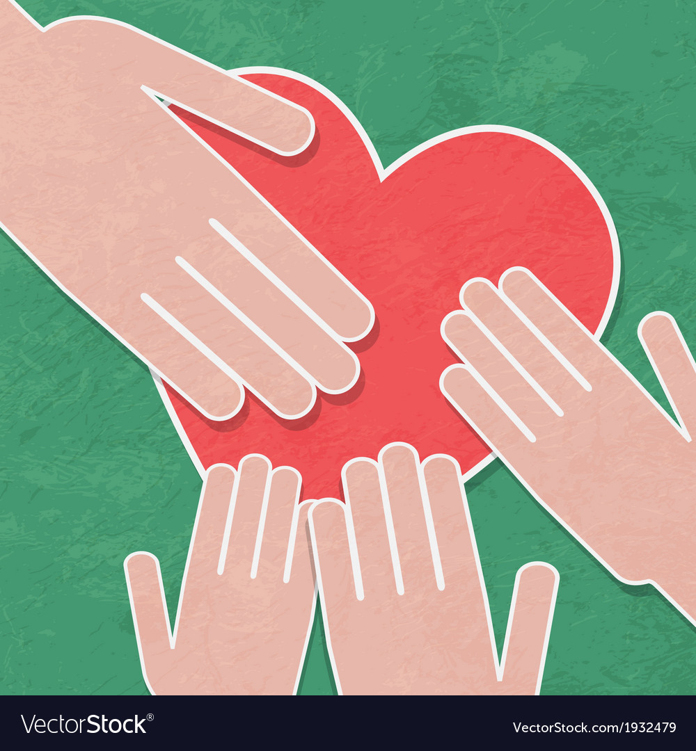 Hand holding the heart charityhands hold a heart vector | Price: 1 Credit (USD $1)