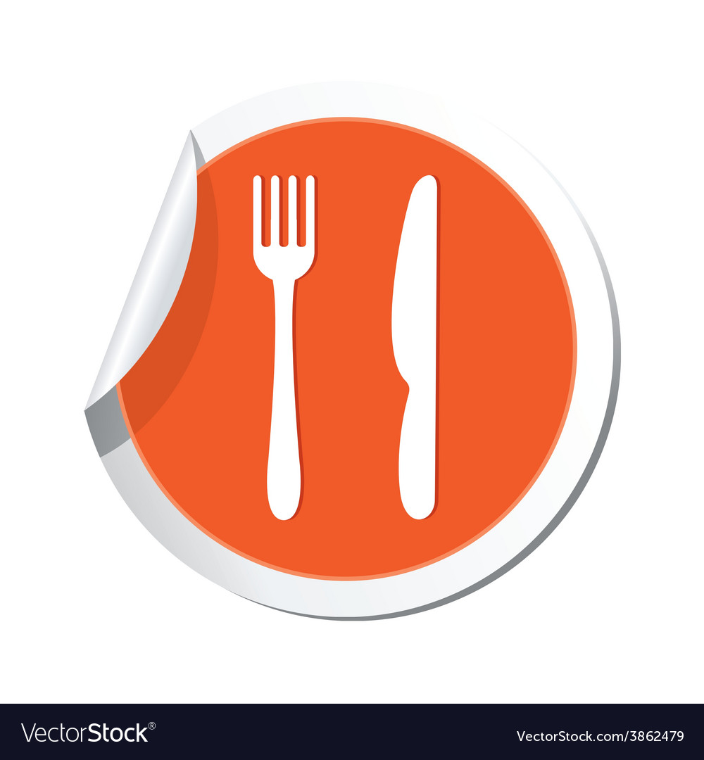 Knife and fork orange label vector   Price: 1 Credit (USD $1)
