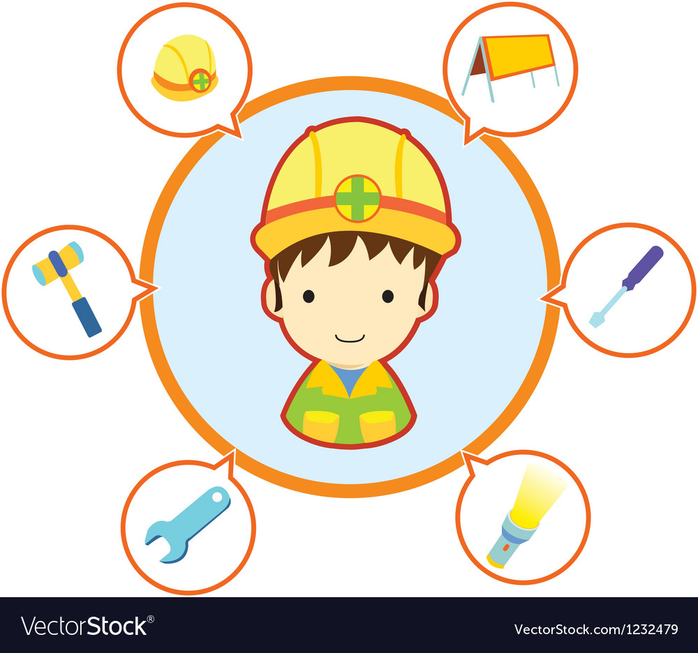 Mechanic repairman with job tool icons vector | Price: 1 Credit (USD $1)