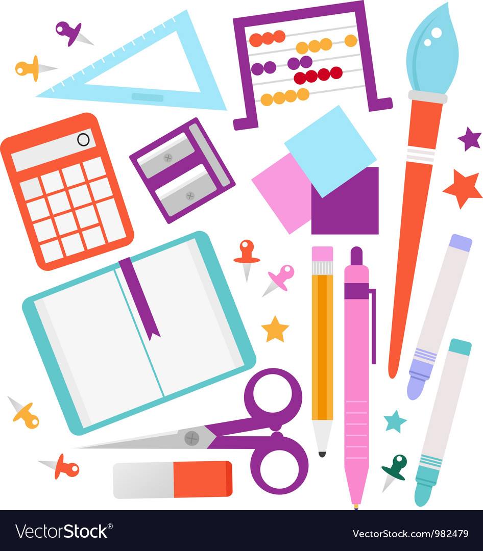 School accessories set isolated on white vector | Price: 1 Credit (USD $1)