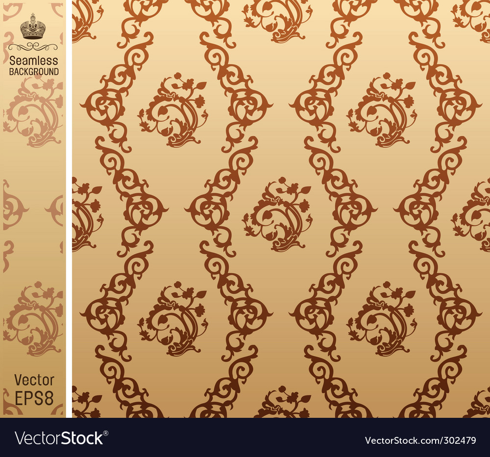 Seamless vintage background floral pattern vector | Price: 1 Credit (USD $1)
