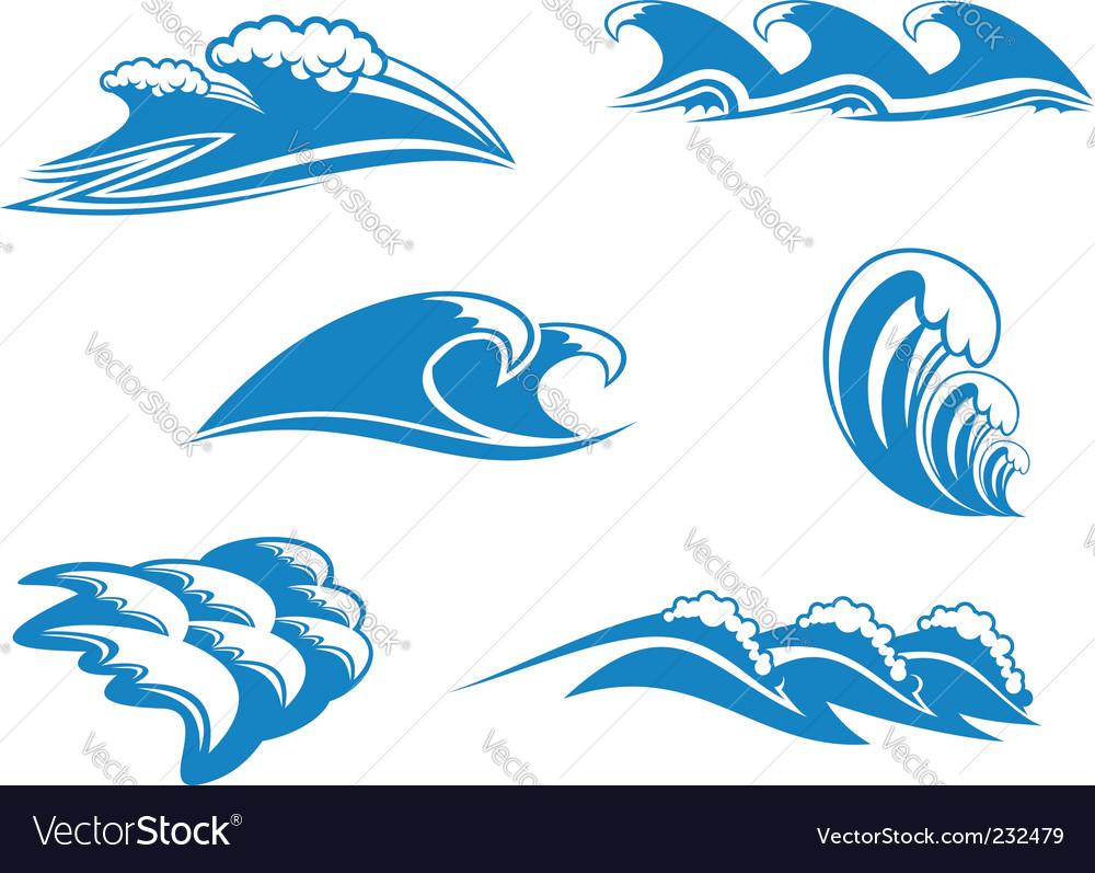 Set of wave symbols vector   Price: 1 Credit (USD $1)