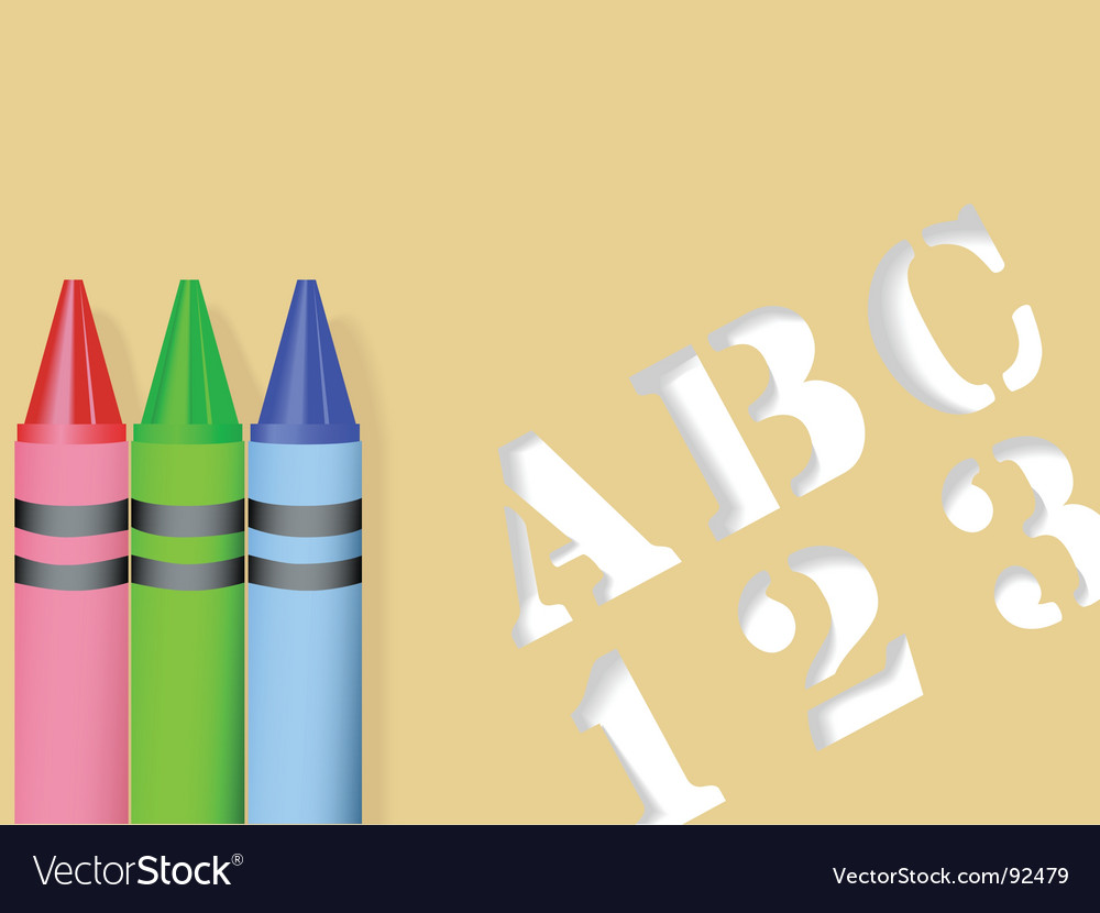 Stencil and crayons vector | Price: 1 Credit (USD $1)