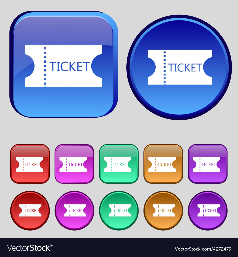 Ticket icon sign a set of twelve vintage buttons vector | Price: 1 Credit (USD $1)