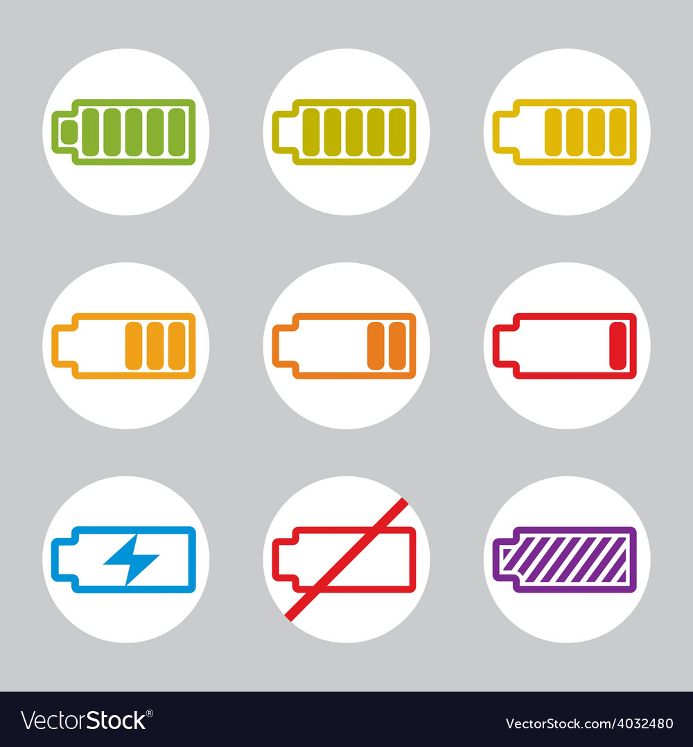 Battery charge indicator icons set simplistic vector | Price: 1 Credit (USD $1)