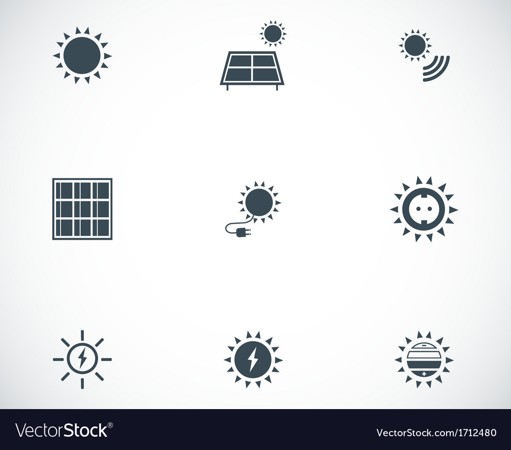 Black solar energy icons set vector | Price: 1 Credit (USD $1)