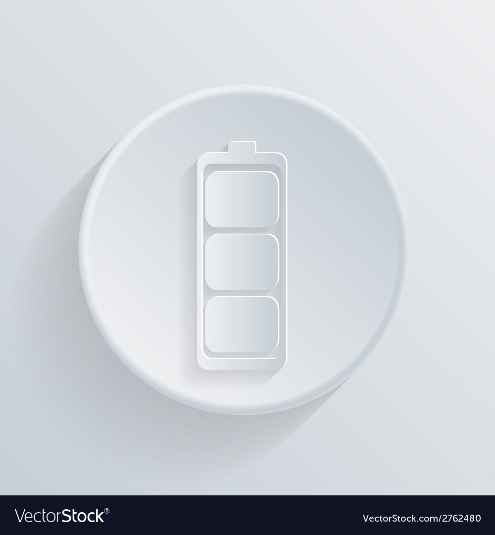 Circle icon with a shadow charged battery vector   Price: 1 Credit (USD $1)