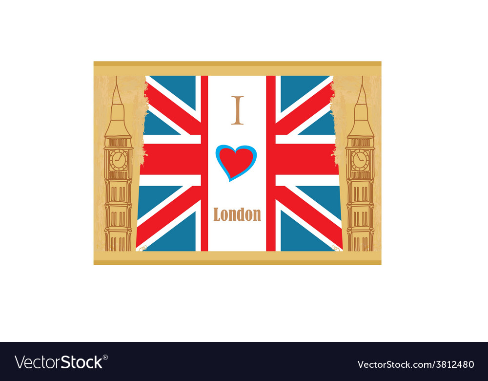 Grunge banner  i love london vector