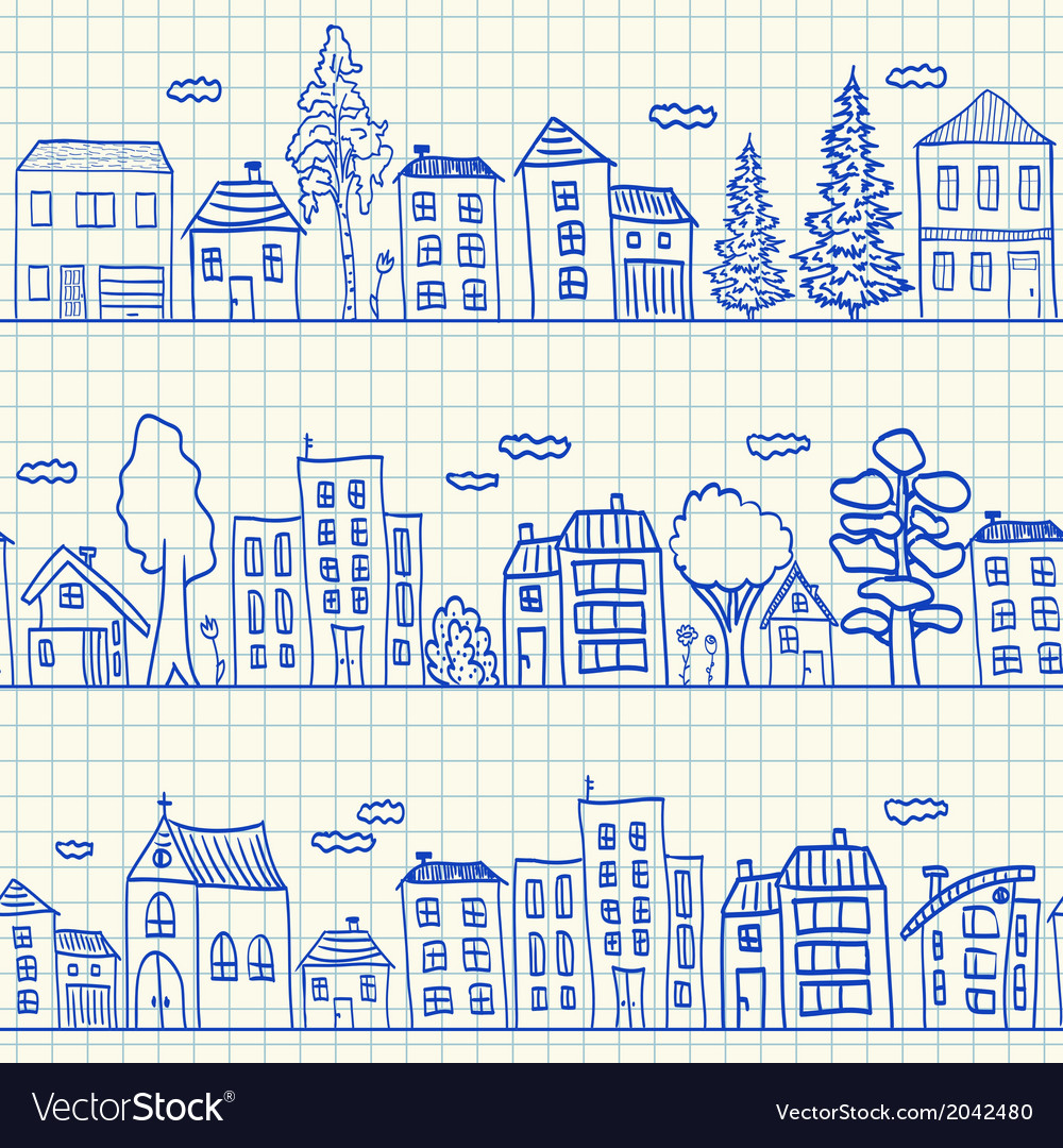 Houses doodles on school squared paper vector | Price: 1 Credit (USD $1)