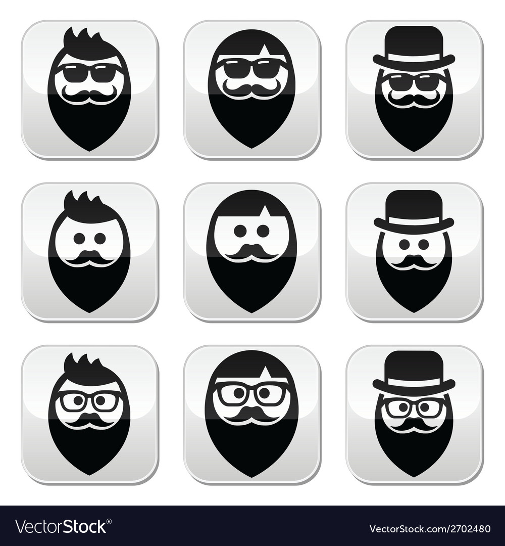 Man with beard with moustache or mustache hipster vector | Price: 1 Credit (USD $1)