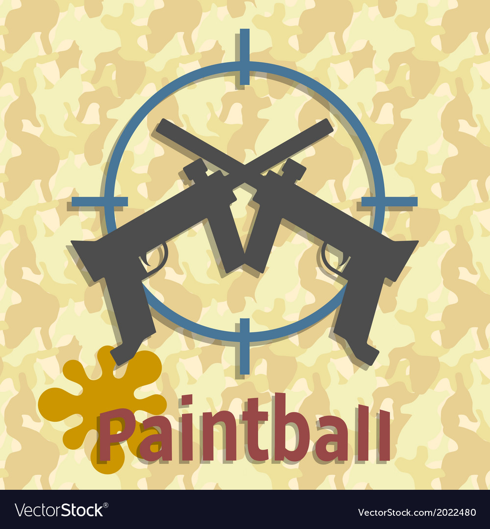 Paintball guns and splash poster vector | Price: 1 Credit (USD $1)