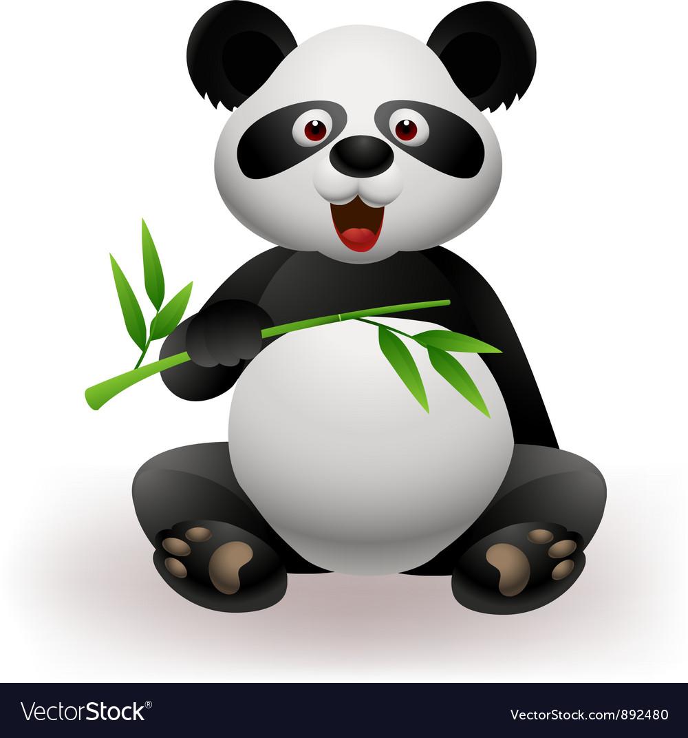 Panda eating bamboo leaf vector | Price: 1 Credit (USD $1)