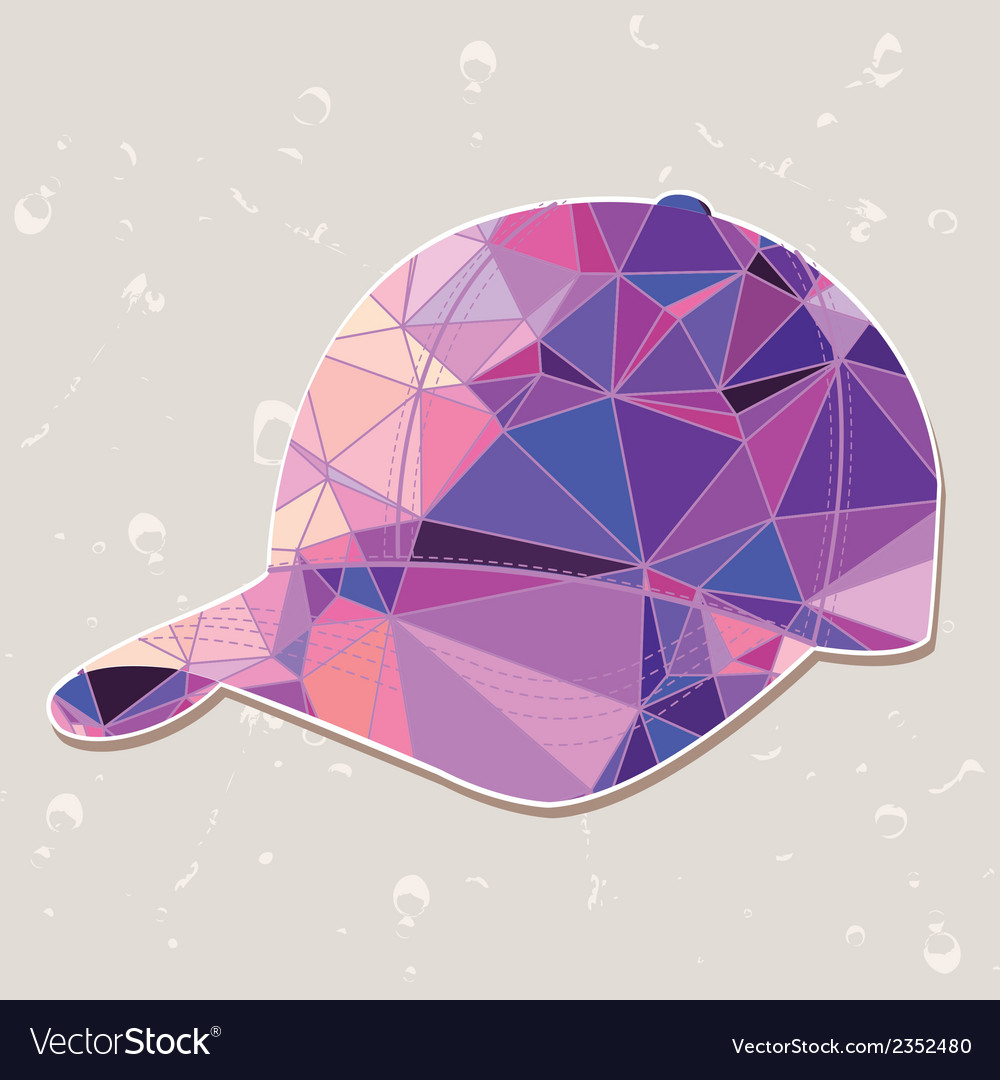 Retro baseball cap made of triangles vector | Price: 1 Credit (USD $1)