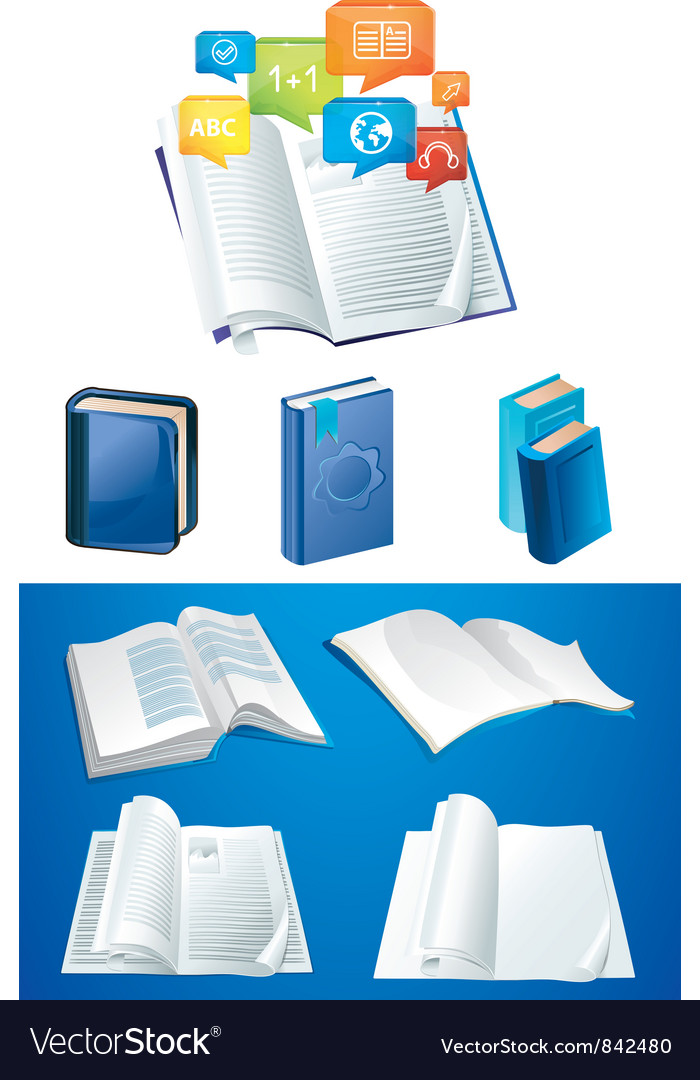 Set of books in different viewpoints vector | Price: 3 Credit (USD $3)