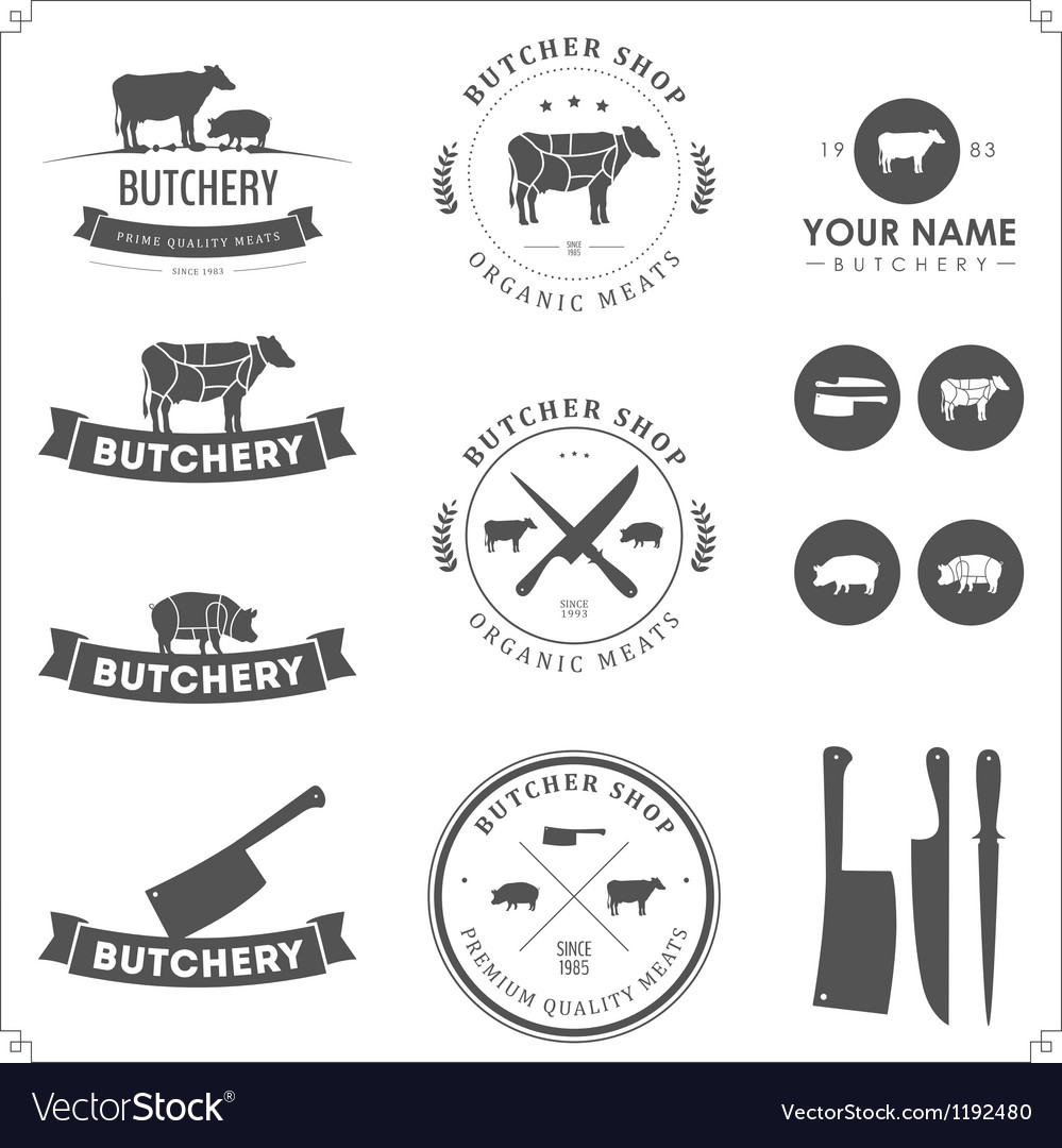 Set of butcher shop labels and design elements vector | Price: 1 Credit (USD $1)