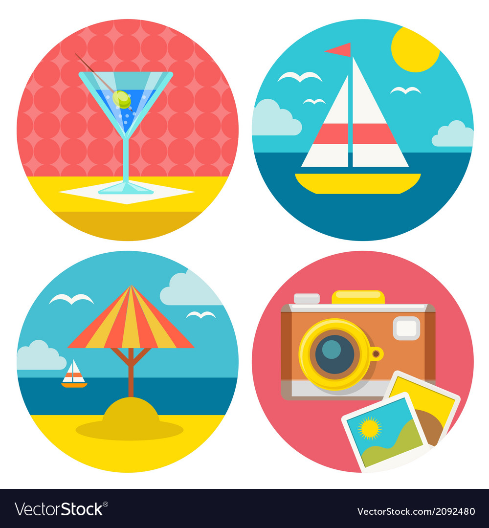 Summer vacation icons in flat design vector | Price: 1 Credit (USD $1)
