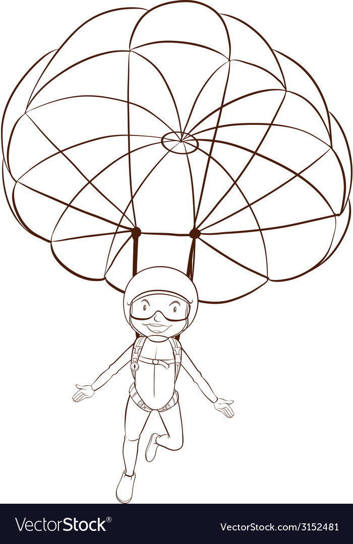 A plain sketch of a person skydiving vector | Price: 1 Credit (USD $1)