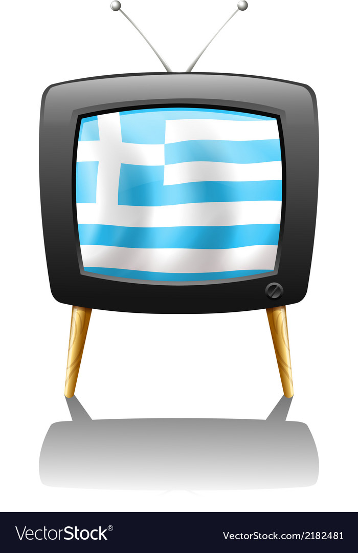 A tv screen with the flag of greece vector | Price: 1 Credit (USD $1)