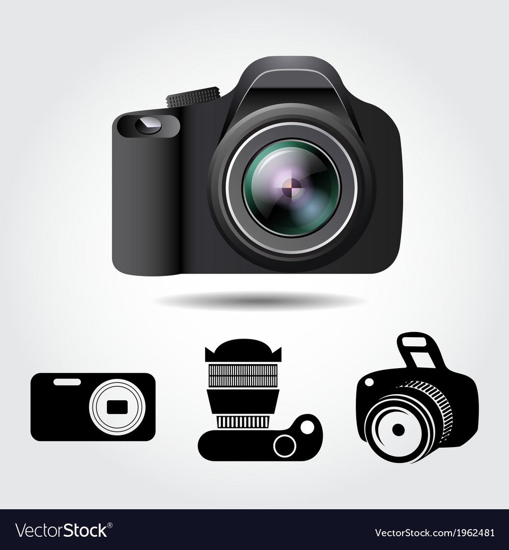 Camera and some icons on a white background vector | Price: 1 Credit (USD $1)