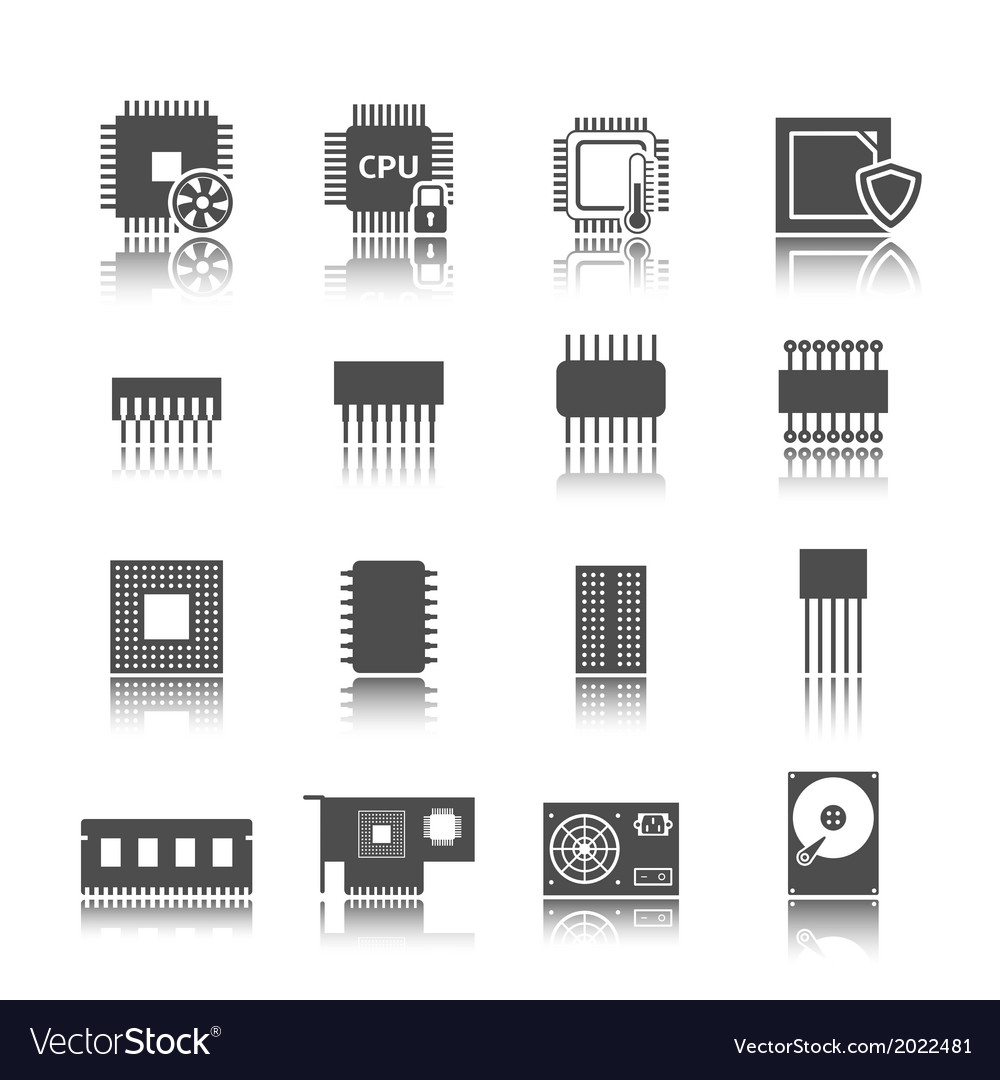 Computer circuit icons set vector