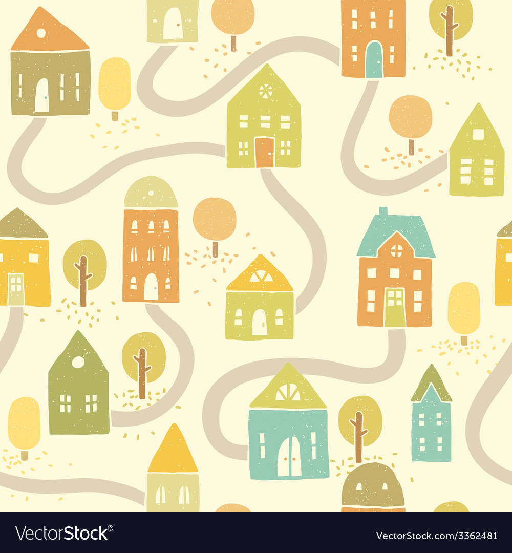 Cute autumn houses seamless pattern vector | Price: 1 Credit (USD $1)