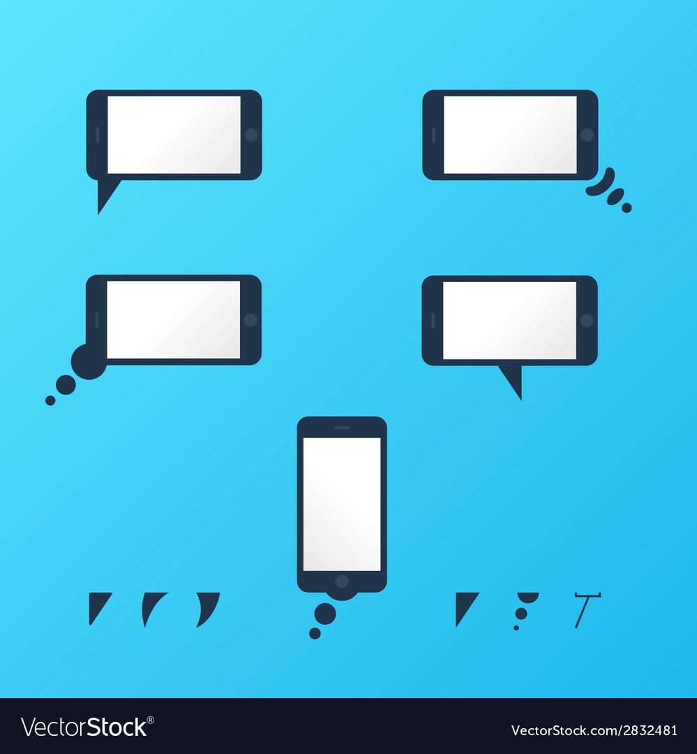 Gadget smartphone empty speech bubbles vector | Price: 1 Credit (USD $1)