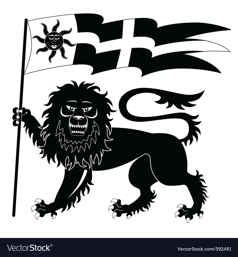 Heraldic lion with banner vector | Price: 1 Credit (USD $1)