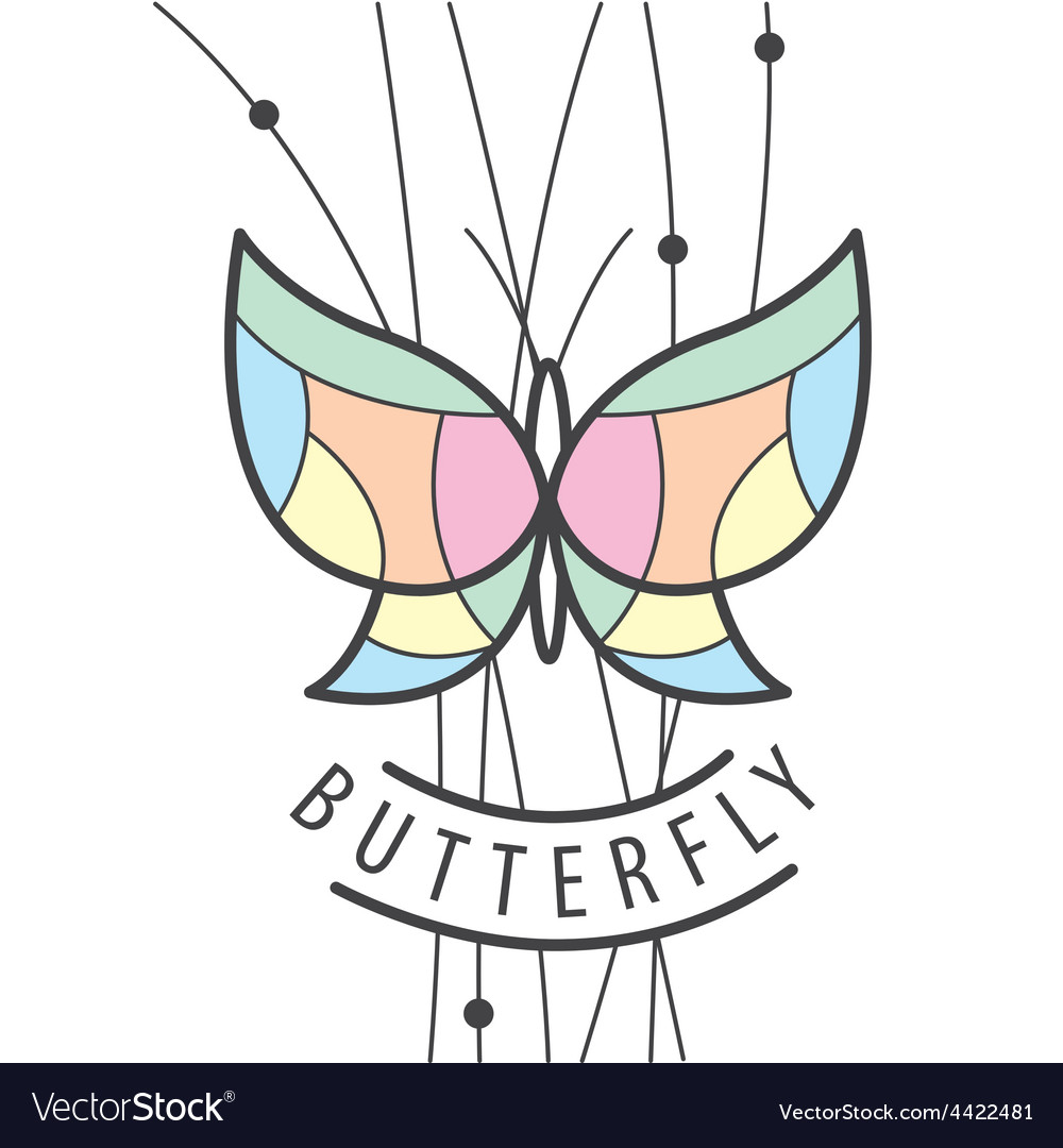 Logo butterfly perched on branches vector | Price: 1 Credit (USD $1)