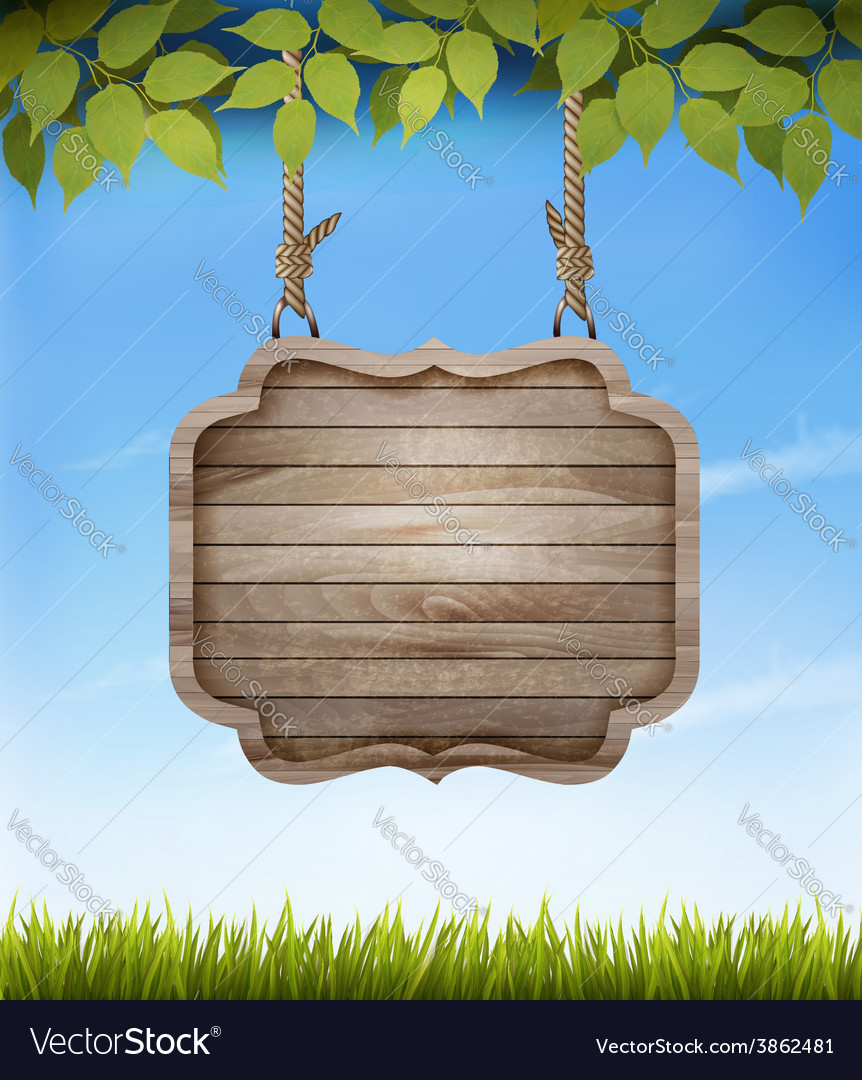 Natural background with leaves and a wooden sign vector | Price: 3 Credit (USD $3)