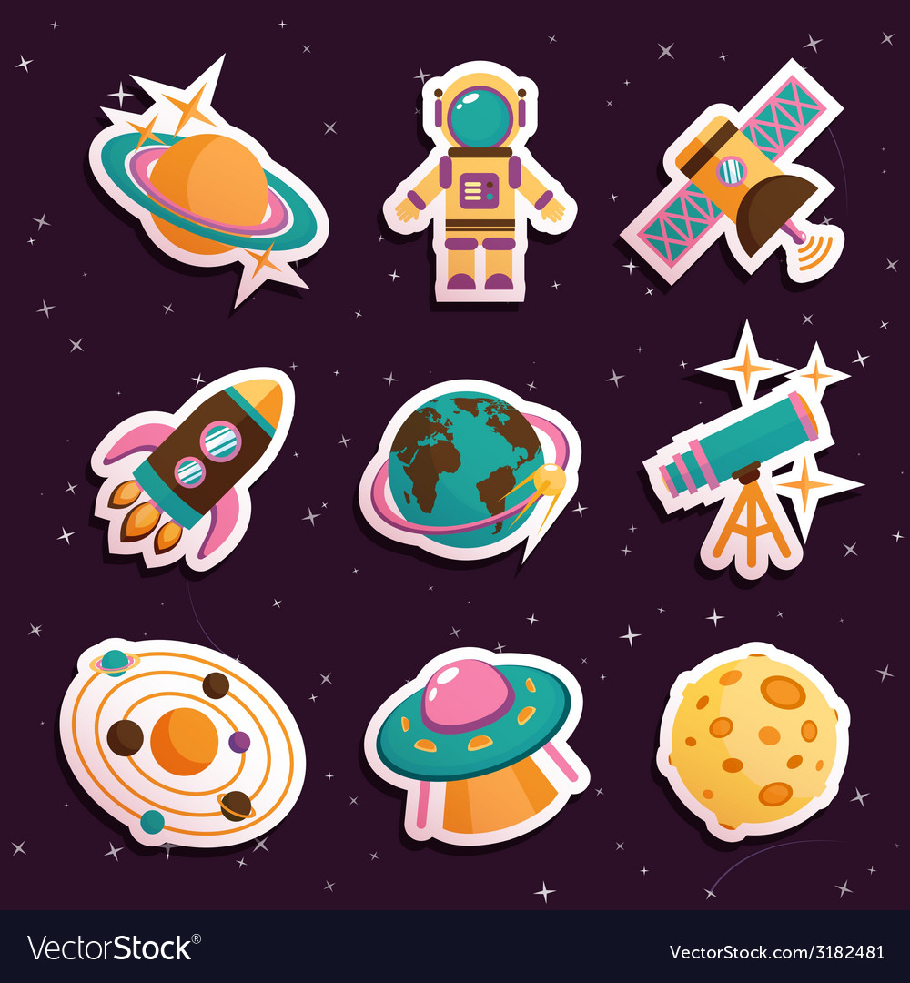 Space stickers set vector | Price: 1 Credit (USD $1)