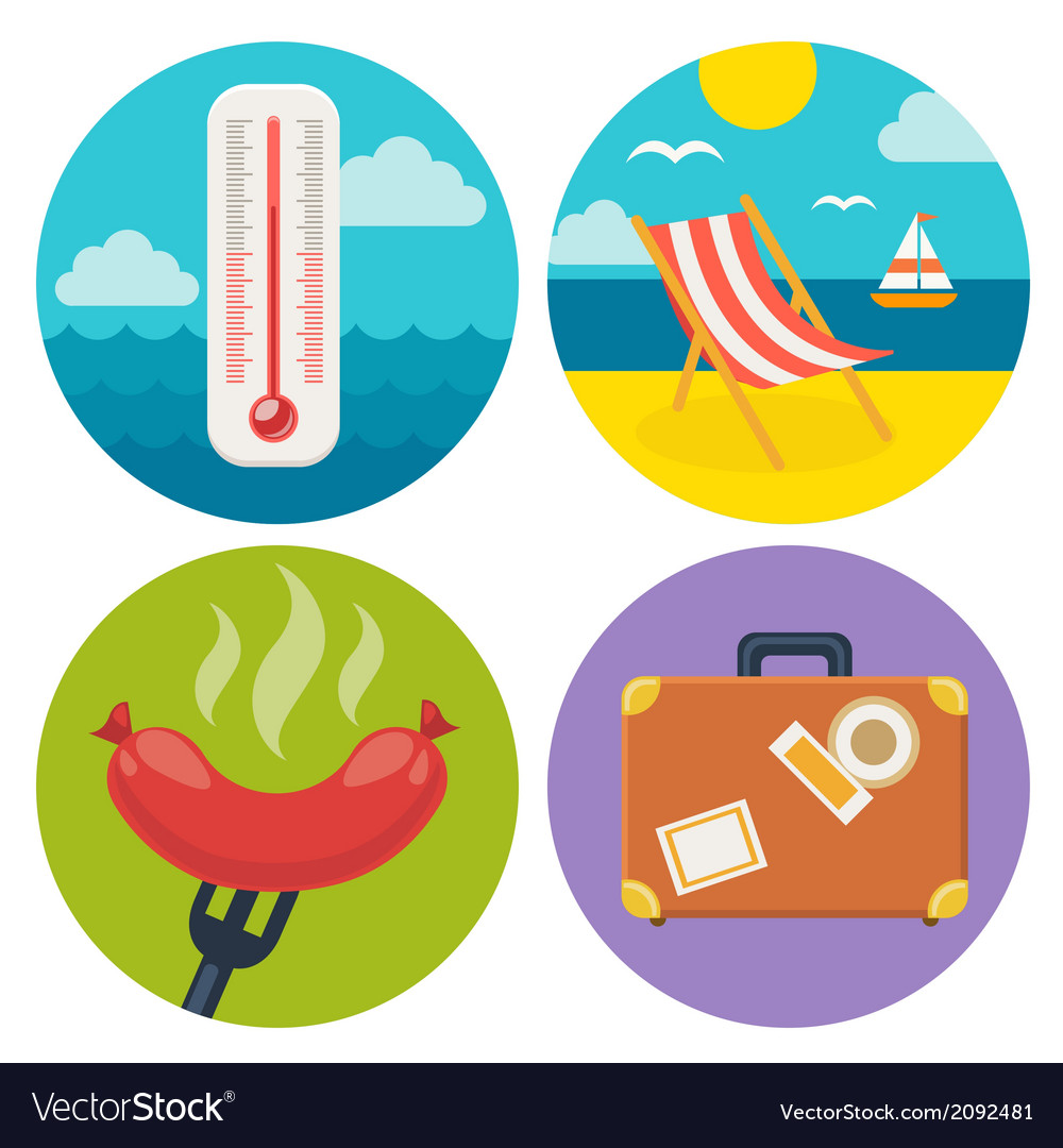 Summer icons in flat design vector | Price: 1 Credit (USD $1)