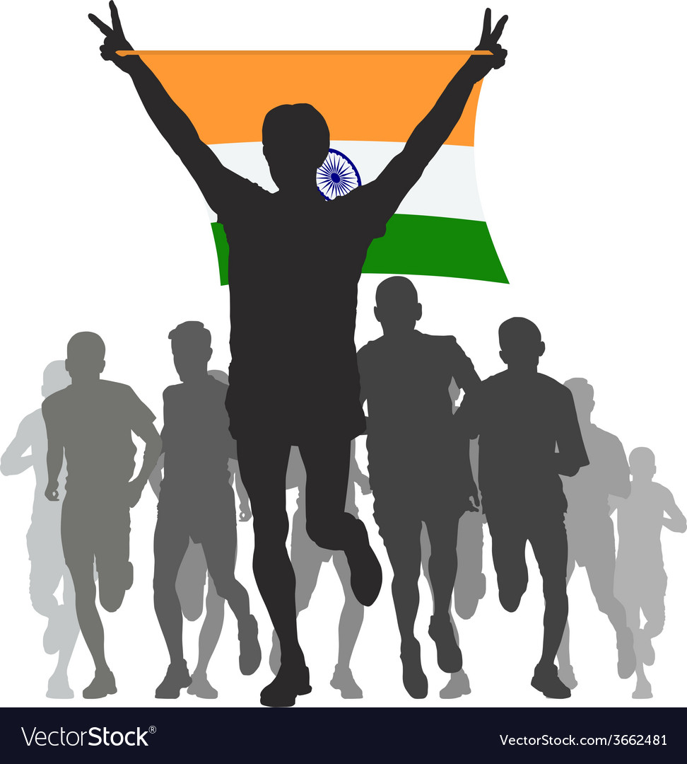 Winner with the india flag at the finish vector