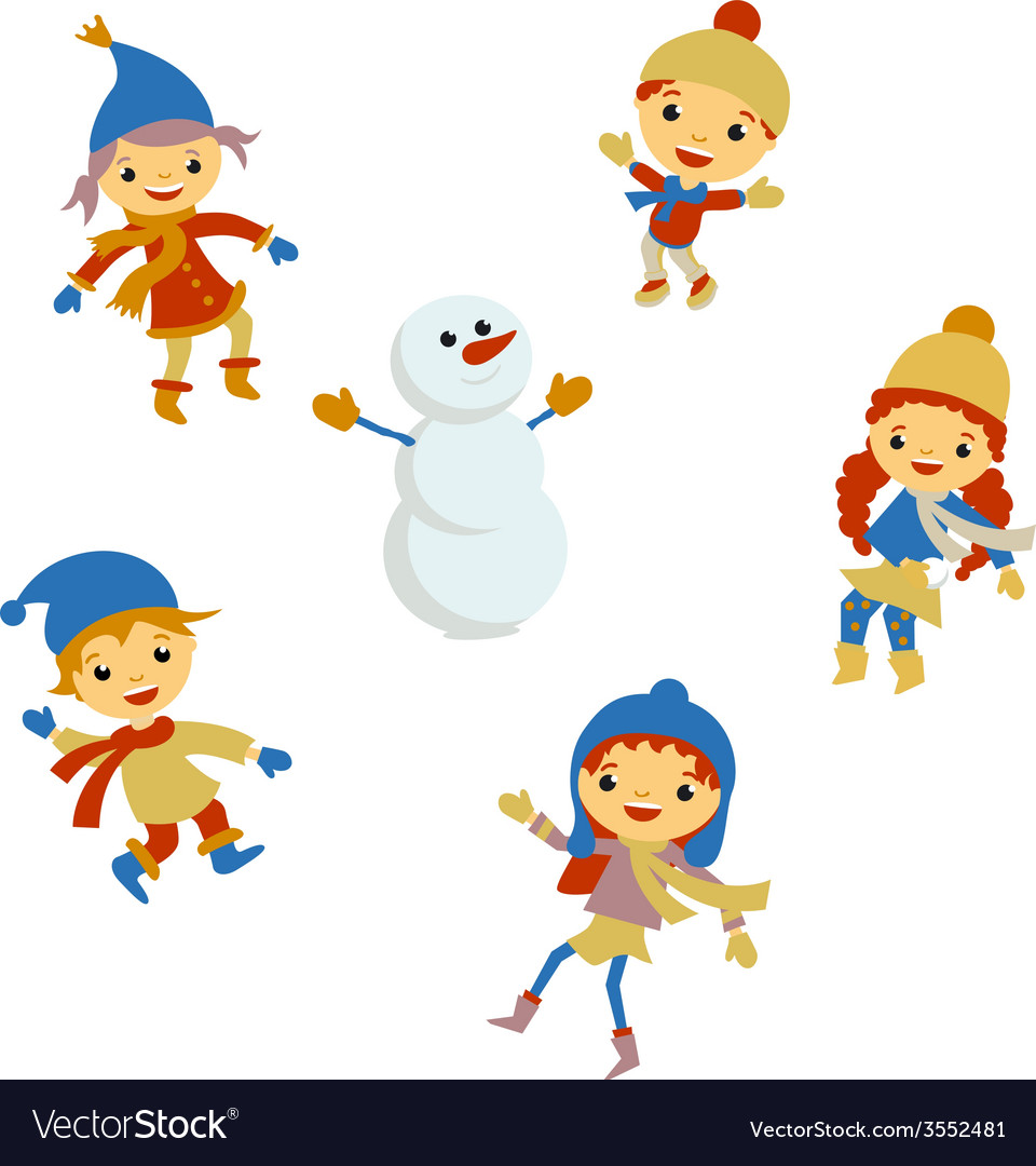 Winter little girl snowman christmas boy snow vector | Price: 1 Credit (USD $1)