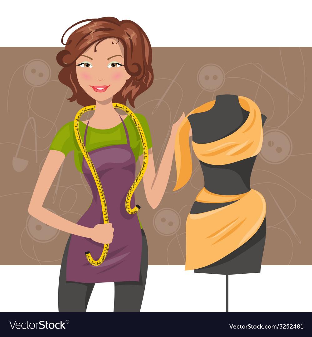 Woman seamstress near the manikin dressmaker vector | Price: 1 Credit (USD $1)