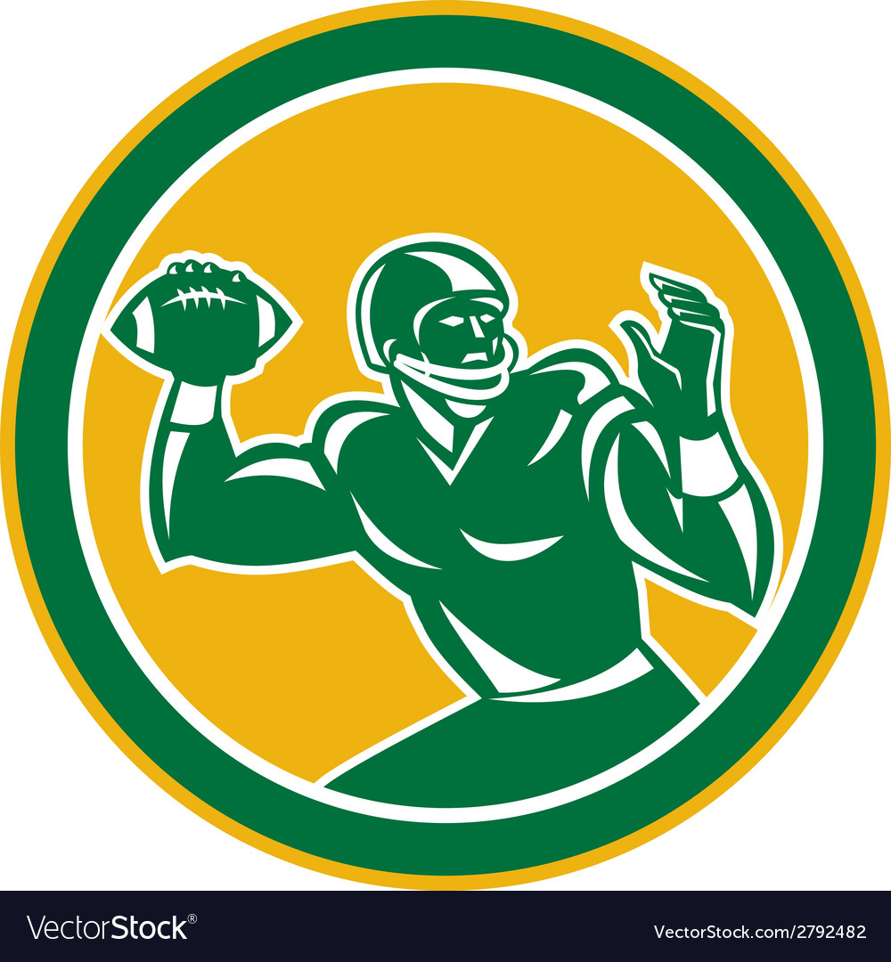 American football quarterback circle retro vector | Price: 1 Credit (USD $1)
