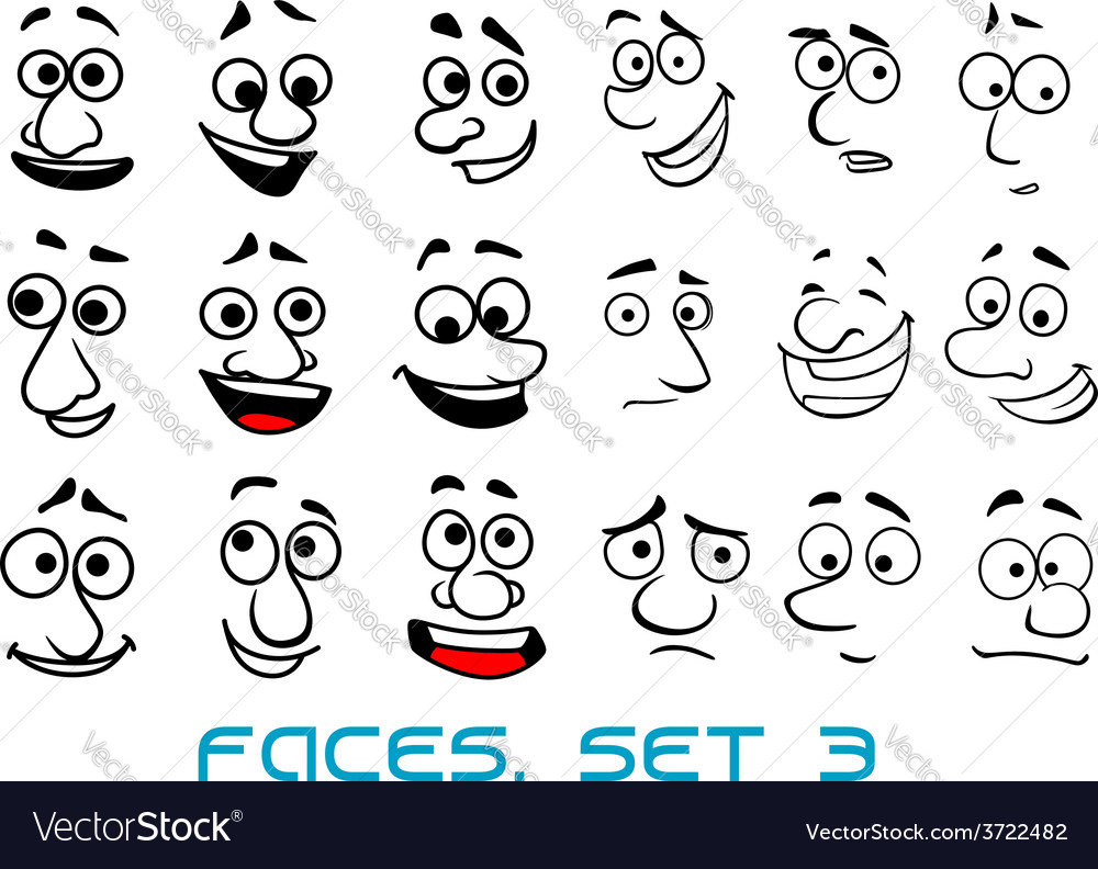 Cartoon doodle faces with different emotions vector | Price: 1 Credit (USD $1)