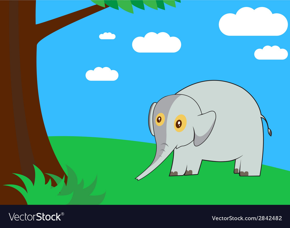 Elephant in the forest vector | Price: 1 Credit (USD $1)