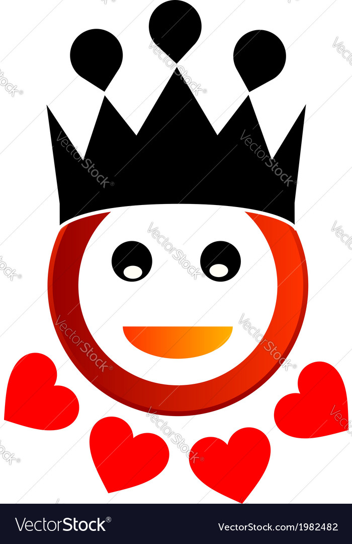 Happy smiley with crown vector | Price: 1 Credit (USD $1)