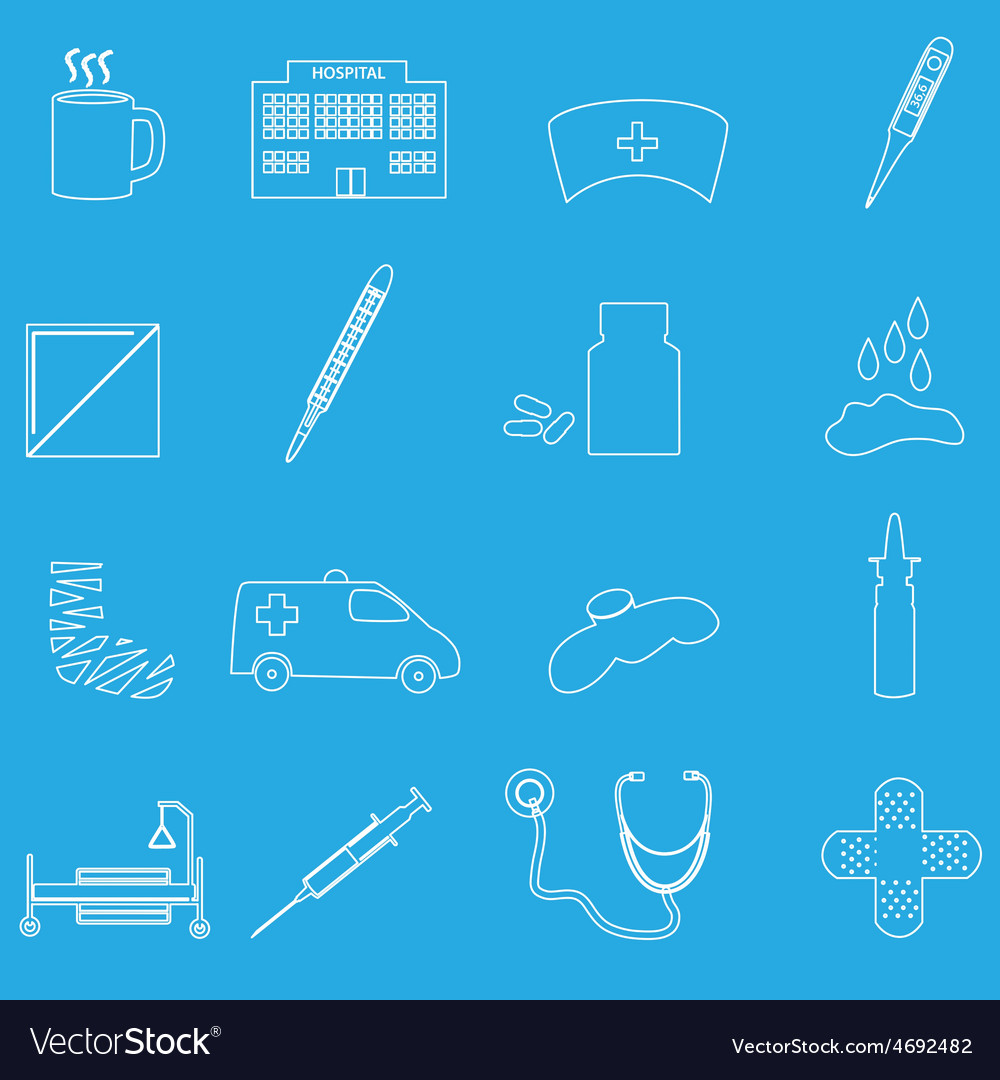 Hospital and sick outline icons set eps10 vector | Price: 1 Credit (USD $1)