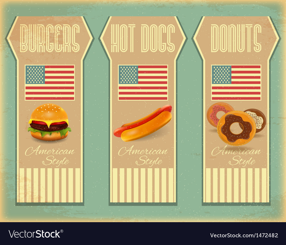 Retro fast food labels vector | Price: 1 Credit (USD $1)