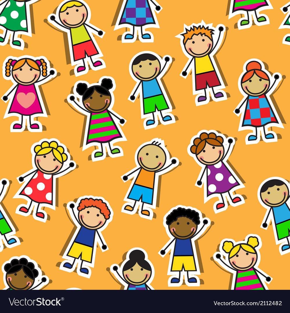 Seamless orange background with cartoon children vector | Price: 1 Credit (USD $1)