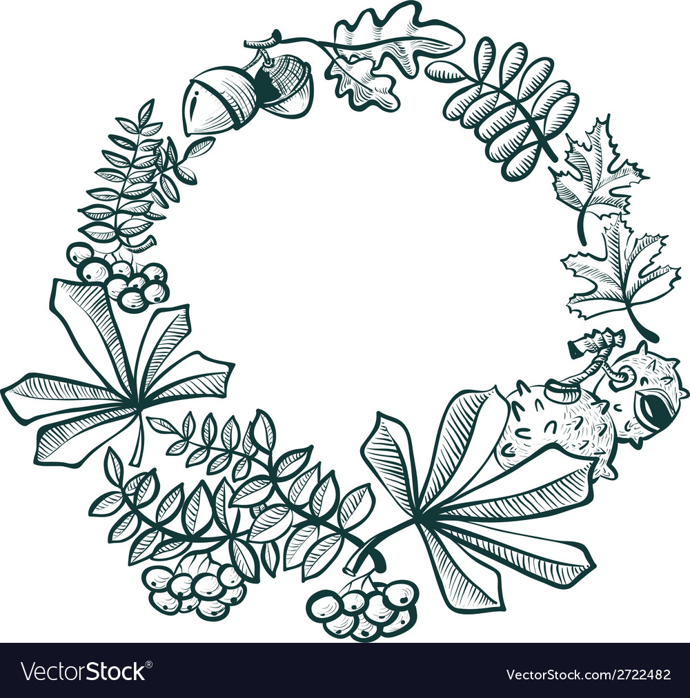 Wreath with leaves vector | Price: 1 Credit (USD $1)