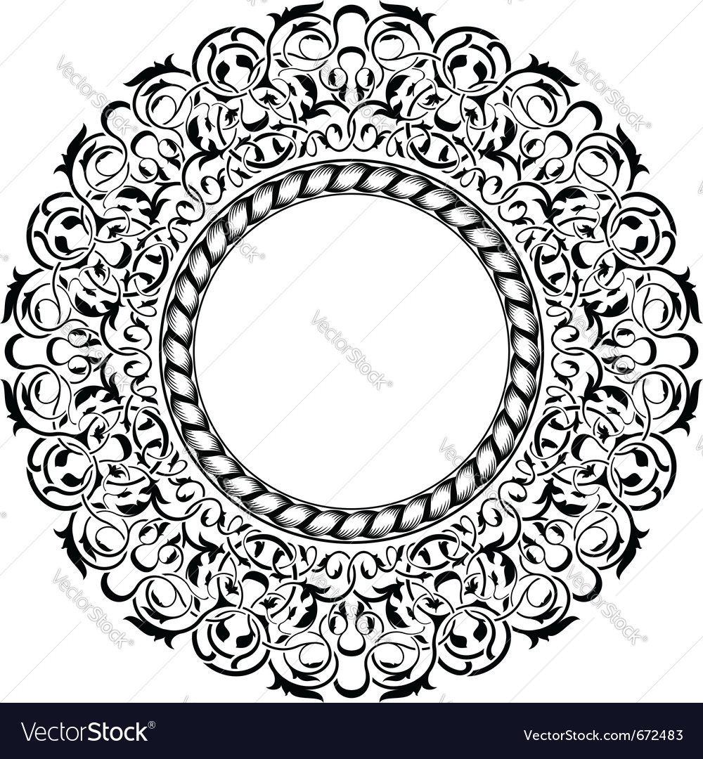 Black frame with ornamental border vector | Price: 1 Credit (USD $1)
