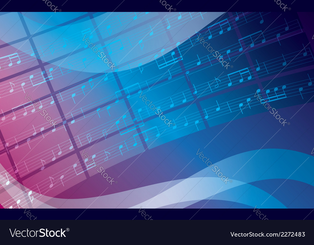 Blue and violet background with music notes vector | Price: 1 Credit (USD $1)