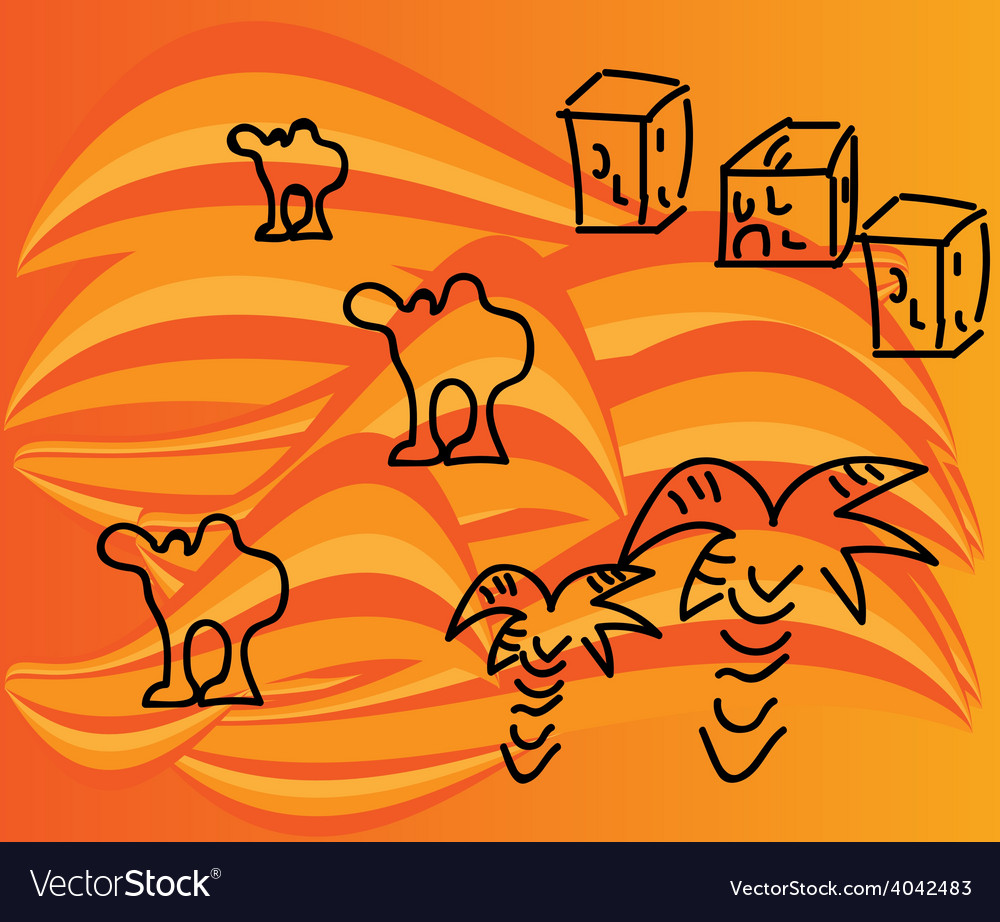 Camels in the desert vector | Price: 1 Credit (USD $1)