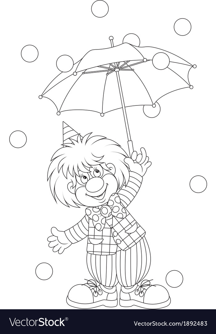 Clown with an umbrella vector | Price: 1 Credit (USD $1)