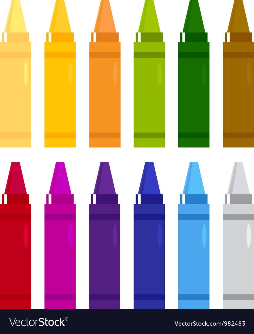 Colorful crayons set isolated on white vector | Price: 1 Credit (USD $1)